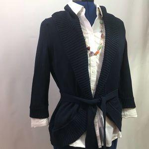 BCBG MaxAzria navy blue cowl neck cardigan shrug S